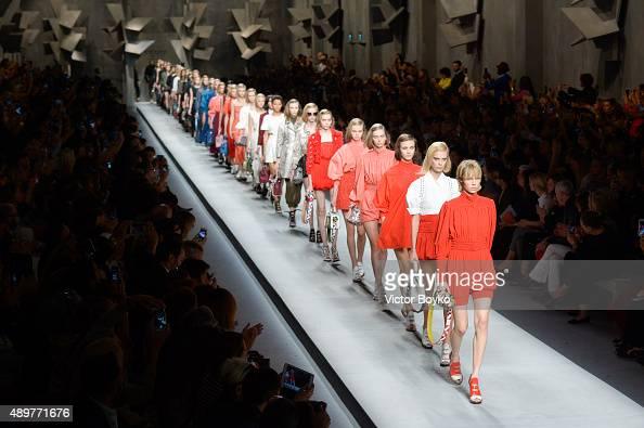 Models walk the runway during the Fendi fashion show as part of Milan Fashion Week Spring/Summer 2016 on September 24 2015 in Milan Italy