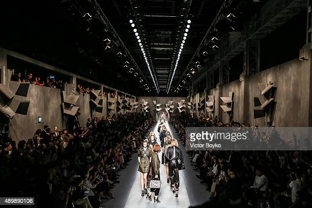 Models walk the runway during the Fendi fashion show as part of Milan Fashion Week Spring/Summer 2016 on September 24 2015 in Milan Italy
