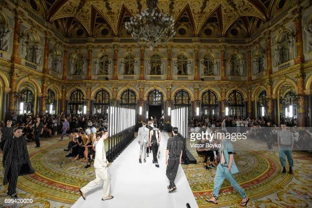 Models walk the runway during the finale of Haider Ackermann Menswear Spring/Summer 2018 show as part of Paris Fashion Week on June 21 2017 in Paris...