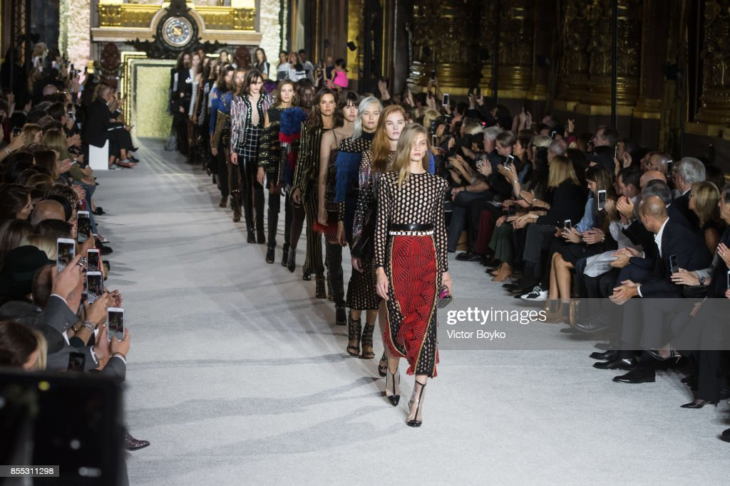 Models walk the runway during the finale of the Balmain show as part of the Paris Fashion Week Womenswear Spring/Summer 2018 on September 28, 2017 in Paris, France.