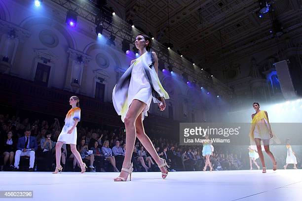 Models walk the runway during the finale of the MB Presents Australian Style show at MercedesBenz Fashion Festival Sydney at Sydney Town Hall on...