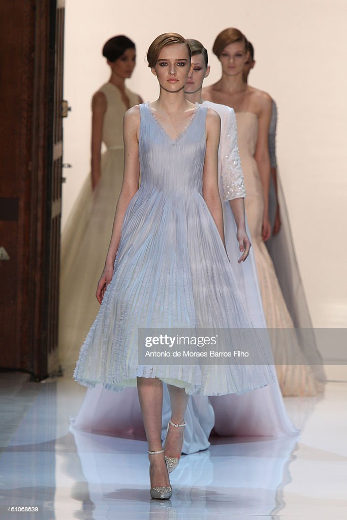 Models walk the runway during the Georges Hobeika show as part of Paris Fashion Week Haute Couture Spring/Summer 2014 on January 20, 2014 in Paris, France.