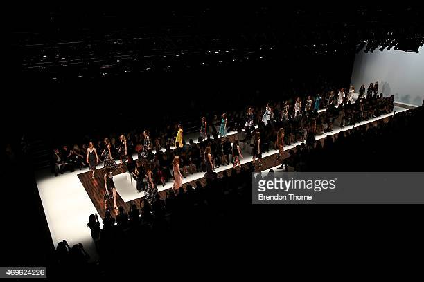 Models walk the runway during the Ginger Smart show at MercedesBenz Fashion Week Australia 2015 at Carriageworks on April 14 2015 in Sydney Australia
