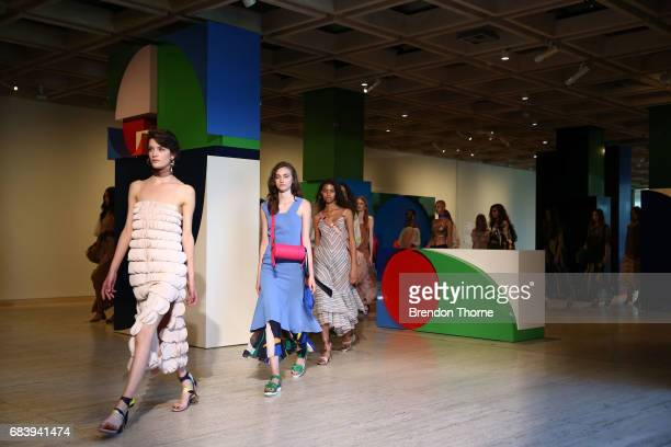 Models walk the runway during the Ginger Smart show at MercedesBenz Fashion Week Resort 18 Collections at Art Gallery of New South Wales on May 17...