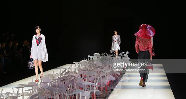 Models walk the runway during the Giorgio Armani fashion show as part of Milan Fashion Week Spring/Summer 2016 on September 28 2015 in Milan Italy
