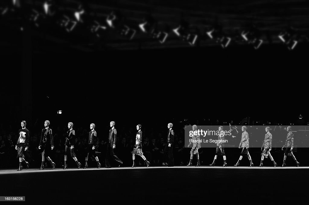 Models walk the runway during the Givenchy Fall/Winter 2013 Ready-to-Wear show as part of Paris Fashion Week on March 5, 2013 in Paris, France.