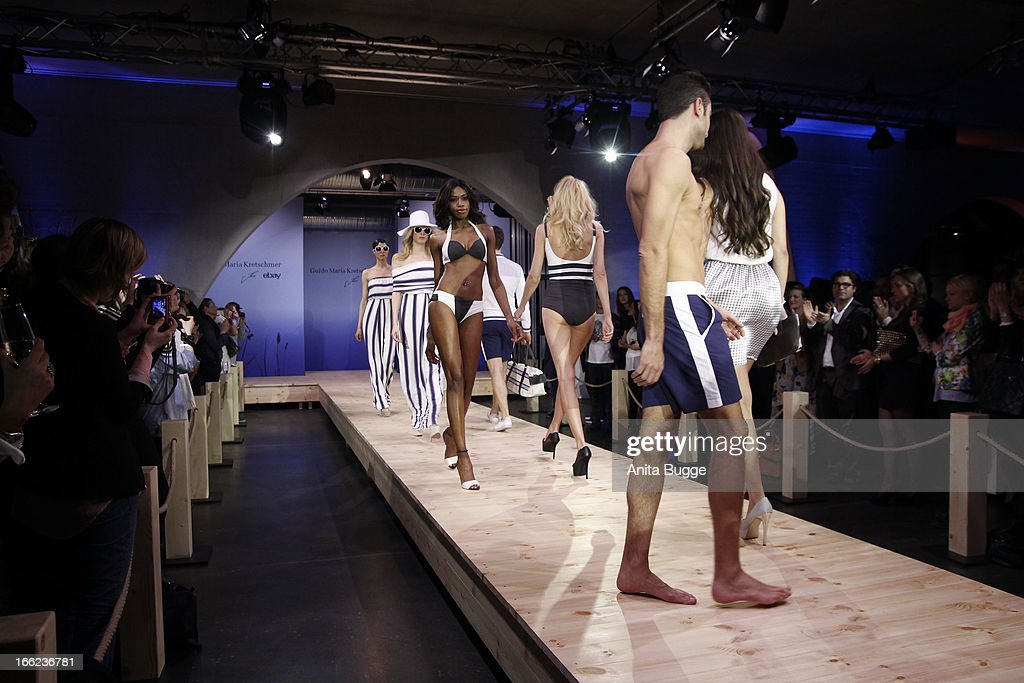 Models walk the runway during the Guido Maria Kretschmer For eBay Collection Launch at Label 2 on April 10, 2013 in Berlin, Germany.