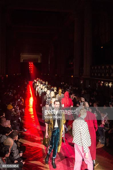 Models walk the runway during the Haider Ackermann show as part of the Paris Fashion Week Womenswear Spring/Summer 2017 on September 30 2016 in Paris...