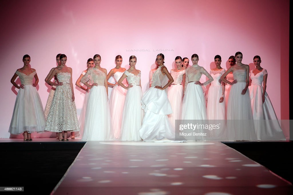 Models walk the runway during the Hannibal Laguna fashion show as part of 'Barcelona Bridal Week 2014' on May 8, 2014 in Barcelona, Spain.