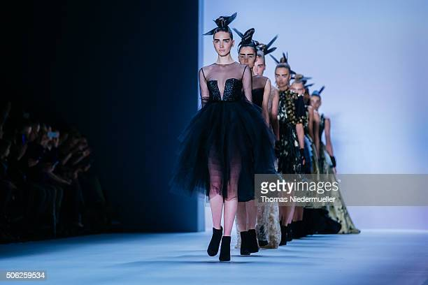 Models walk the runway during the Irene Luft Show at the MercedesBenz Fashion Week Berlin Autumn/Winter 2016 at Brandenburg Gate on January 22 2016...