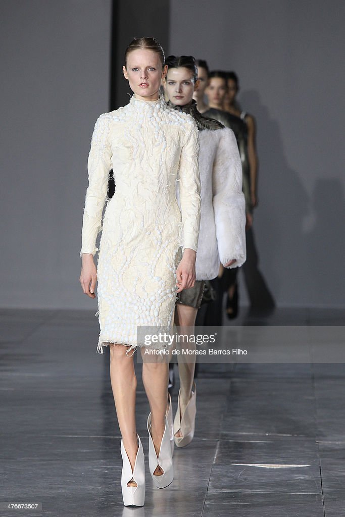 Models walk the runway during the Iris Van Herpen show as part of the Paris Fashion Week Womenswear Fall/Winter 2014-2015 on March 4, 2014 in Paris, France.