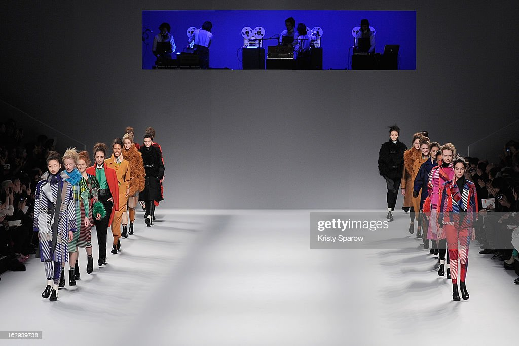 Models walk the runway during the Issey Miyake Fall/Winter 2013/14 Ready-to-Wear show as part of Paris Fashion Week on March 1, 2013 in Paris, France.