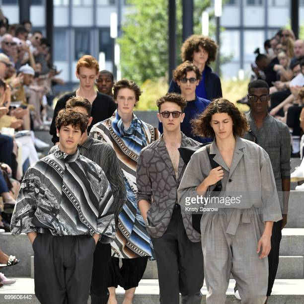 Models walk the runway during the Issey Miyake Men Menswear Spring/Summer 2018 show as part of Paris Fashion Week on June 22 2017 in Paris France
