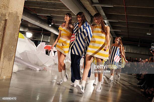 Models walk the runway during the Jacquemus show as part of the Paris Fashion Week Womenswear Spring/Summer 2015 on September 23 2014 in Paris France