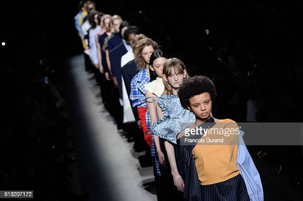 Models walk the runway during the Jacquemus show as part of the Paris Fashion Week Womenswear Fall/Winter 2016/2017 on March 1 2016 in Paris France