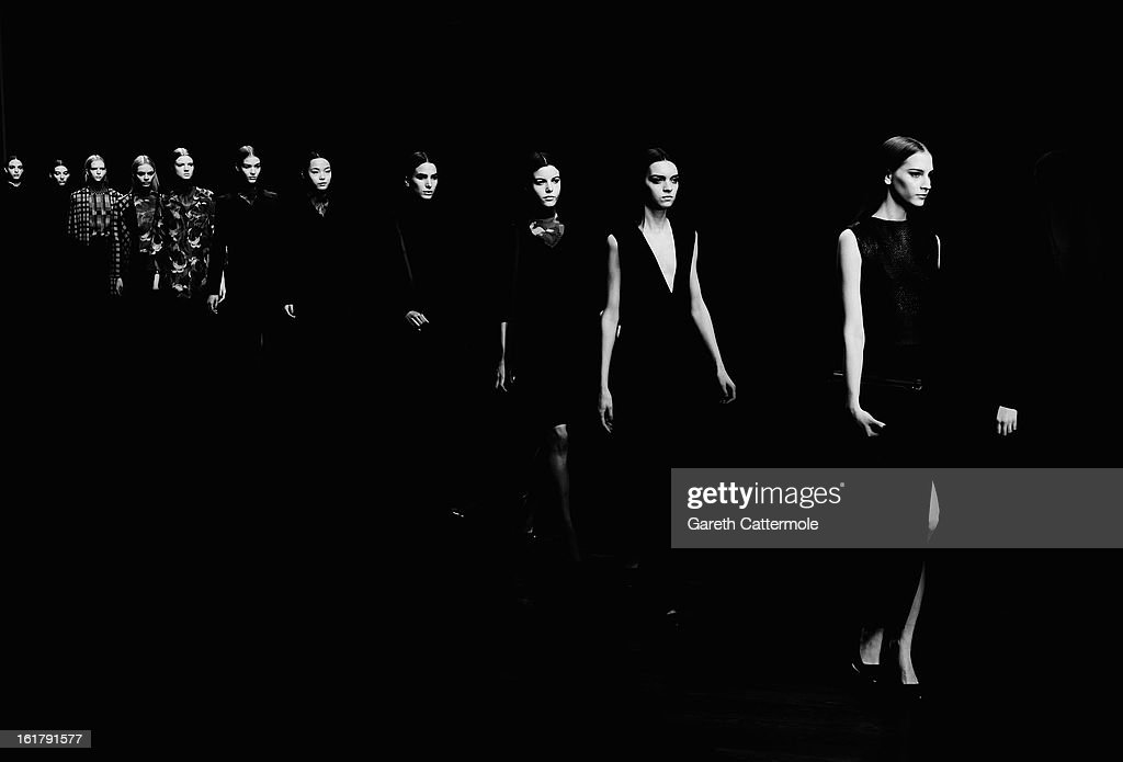 Models walk the runway during the Jasper Conran show as part of London Fashion Week Fall/Winter 2013/14 at Somerset House on February 16, 2013 in London, England.