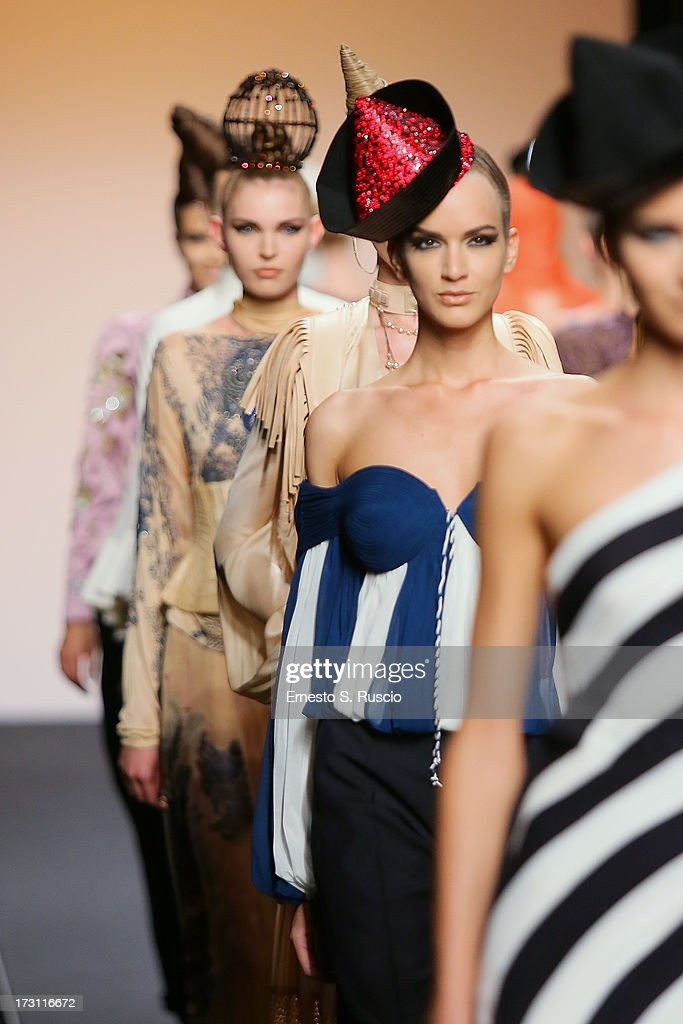 Models walk the runway during the Jean Paul Gaultier Couture fashion show as part of AltaRoma AltaModa Fashion Week Autumn/Winter 2013 on July 7, 2013 in Rome, Italy.