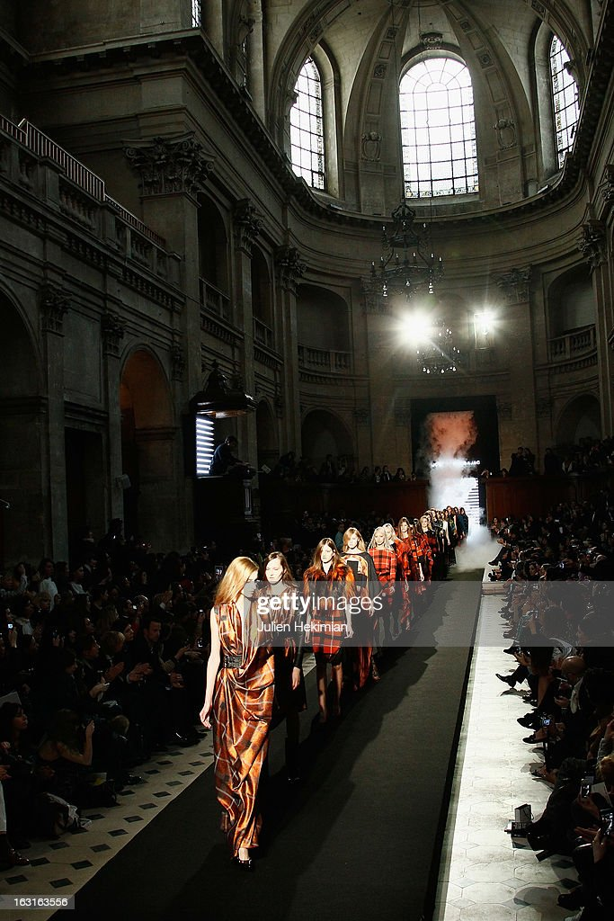 Models walk the runway during the Jean-Charles De Castelbajac Fall/Winter 2013 Ready-to-Wear show as part of Paris Fashion Week on March 5, 2013 in Paris, France.