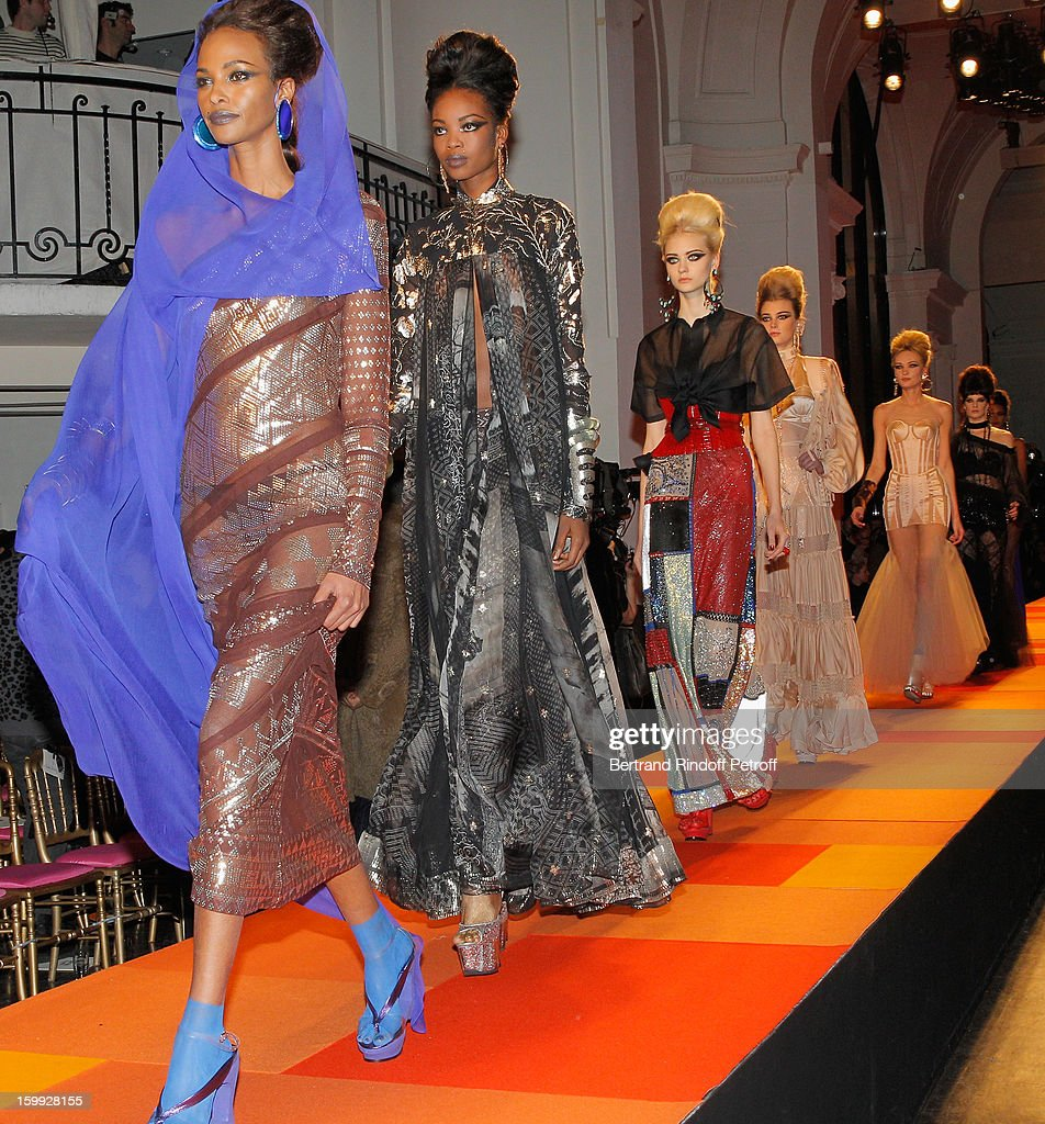 Models walk the runway during the Jean-Paul Gaultier Spring/Summer 2013 Haute-Couture show as part of Paris Fashion Week at on January 23, 2013 in Paris, France.