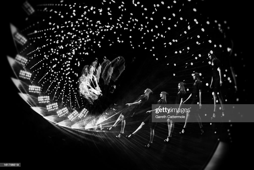 Models walk the runway during the Jean-Pierre Braganza show as part of London Fashion Week Fall/Winter 2013/14 at Somerset House on February 15, 2013 in London, England.