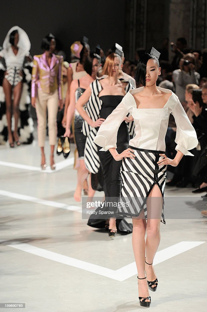Models walk the runway during the Julien Fournie Spring/Summer 2013 Haute-Couture show as part of Paris Fashion Week at Cite de l'Architecture et du Patrimoine on January 22, 2013 in Paris, France.