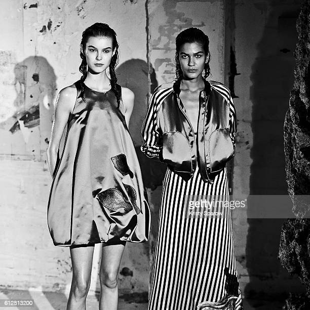 Models walk the runway during the Junko Shimada show as part of Paris Fashion Week Womenswear Spring/Summer 2017 on October 4 2016 in Paris France