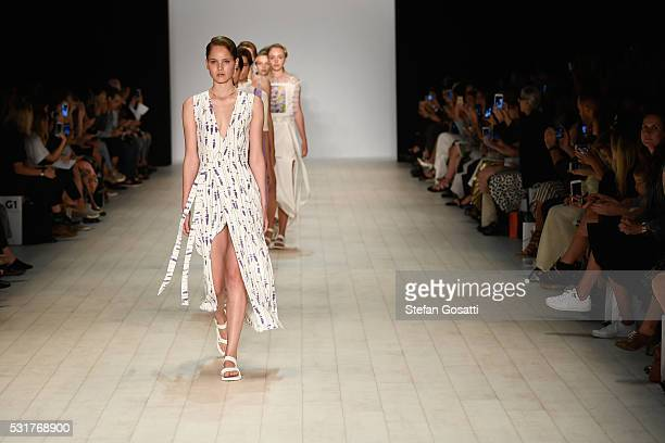 Models walk the runway during the Karla Spetic show at MercedesBenz Fashion Week Resort 17 Collections at Carriageworks on May 17 2016 in Sydney...