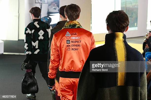Models walk the runway during the Kenzo Menswear Fall/Winter 20152016 show at Philharmonie de Paris as part of the Paris Fashion Week on January 24...