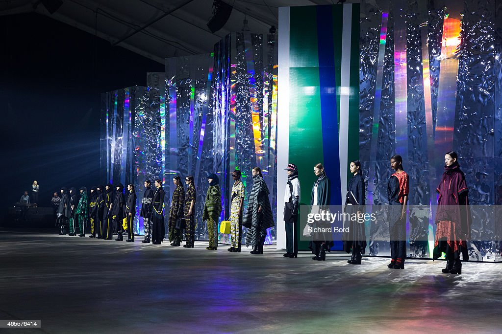 Models walk the runway during the Kenzo show as part of the Paris Fashion Week Womenswear Fall/Winter 2015/2016 at Paris Event Center on March 8 2015...