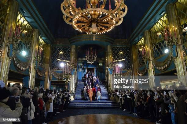 Models walk the runway during the Koche show as part of Paris Fashion Week Womenswear Fall/Winter 2017/2018 on February 28 2017 in Paris France