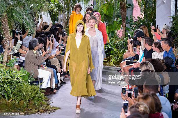 Models walk the runway during the Lacoste fashion show during New York Fashion Week September 2016 at Spring Studios on September 10 2016 in New York...