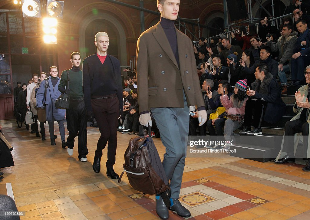 Models walk the runway during the Lanvin Men Autumn / Winter 2013 show at Ecole Nationale Superieure Des Beaux-Arts as part of Paris Fashion Week on January 20, 2013 in Paris, France.