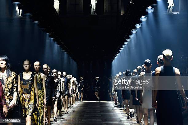 Models walk the runway during the Lanvin show as part of the Paris Fashion Week Womenswear Spring/Summer 2015 on September 25 2014 in Paris France