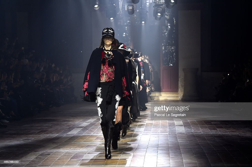 Models walk the runway during the Lanvin show as part of the Paris Fashion Week Womenswear Fall/Winter 2015/2016 on March 5 2015 in Paris France
