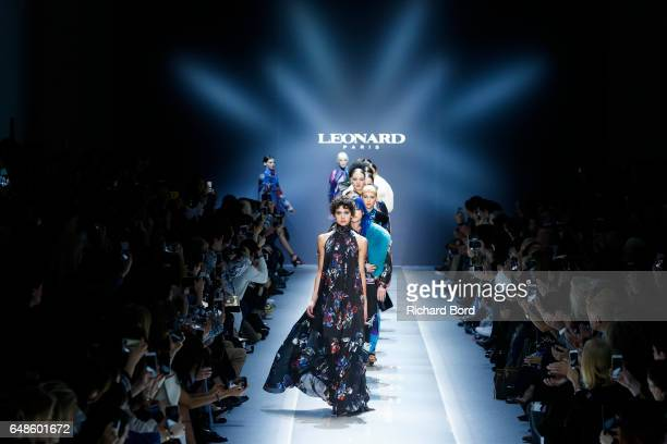 Models walk the runway during the Leonard Paris show at Grand Palais as part of the Paris Fashion Week Womenswear Fall/Winter 2017/2018 on March 6...