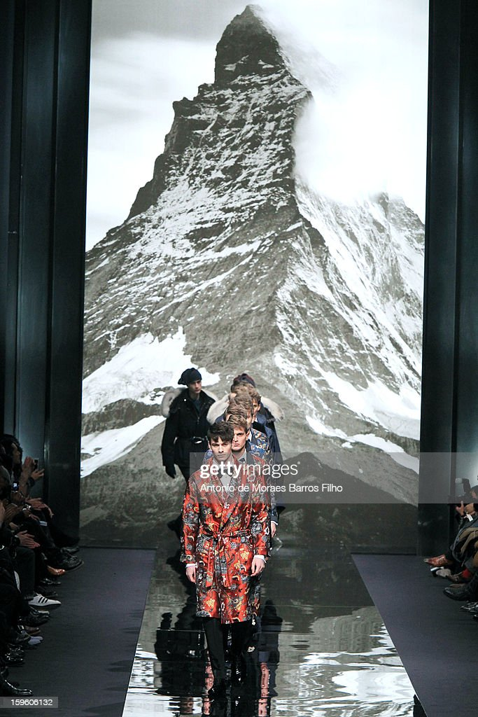Models walk the runway during the Louis Vuitton Men Autumn / Winter 2013 show as part of Paris Fashion Week on at on January 17, 2013 in Paris, France.