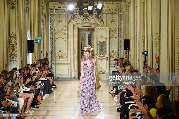 Models walk the runway during the Luisa Beccaria fashion show as part of Milan Fashion Week Spring/Summer 2016 on September 24 2015 in Milan Italy