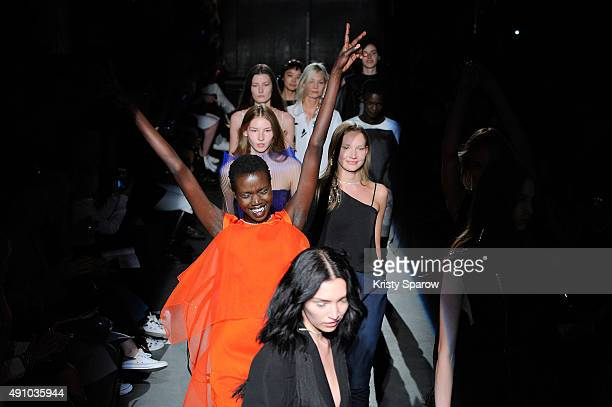 Models walk the runway during the Lutz Huelle show as part of the Paris Fashion Week Womenswear Spring/Summer 2016 on October 2 2015 in Paris France