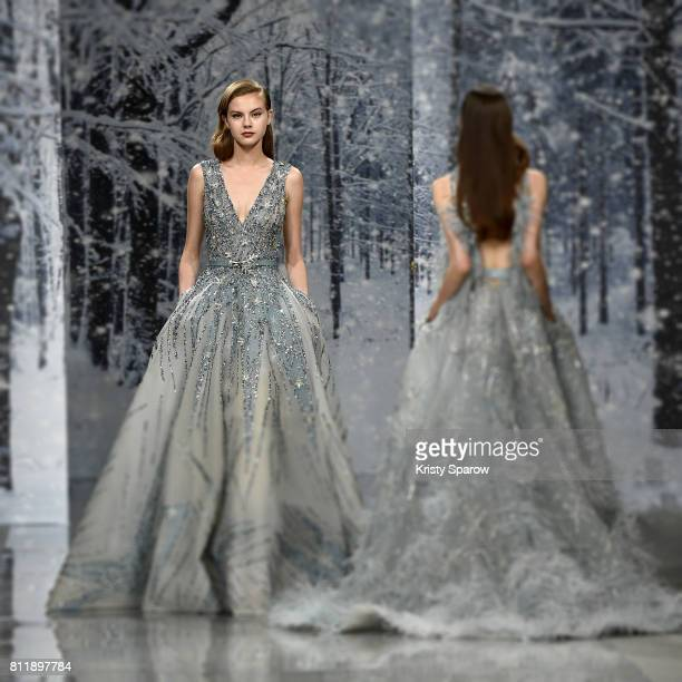 Models walk the runway during the Maison Ziad Nakad Haute Couture Fall/Winter 20172018 show as part of Haute Couture Paris Fashion Week on July 5...