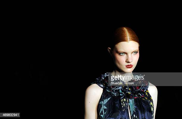 Models walk the runway during the Matthew Williamson AW14 Show sponsored by Beauty In on February 16 2014 in London England