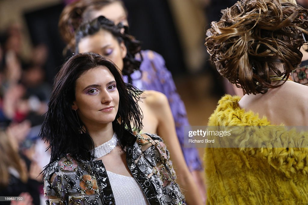 Models walk the runway during the Maurizio Galante Spring/Summer 2013 Haute-Couture show as part of Paris Fashion Week at Theatre du Chatelet on January 21, 2013 in Paris, France.