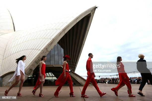 Models walk the runway during the MercedesBenz Presents Dion Lee show at MercedesBenz Fashion Week Resort 18 Collections at the Sydney Opera House on...
