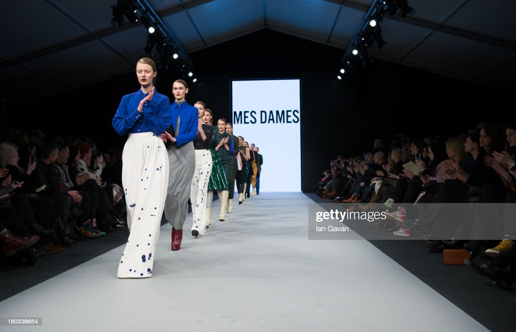 Models walk the runway during the Mes Dames show at Mercedes-Benz Stockholm Fashion Week Autumn/Winter 2013 at Mercedes-Benz Fashion Pavilion on January 29, 2013 in Stockholm, Sweden.