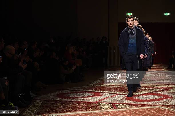 Models walk the runway during the Missoni Show as a part of Milan Menswear Fashion Week Fall Winter on January 18 2015 in Milan Italy
