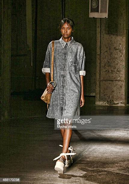 Models walk the runway during the MM6 Masion Martin Margiela show at MercedesBenz Fashion Week Spring 2015 at 537 West 27th Street on September 9...