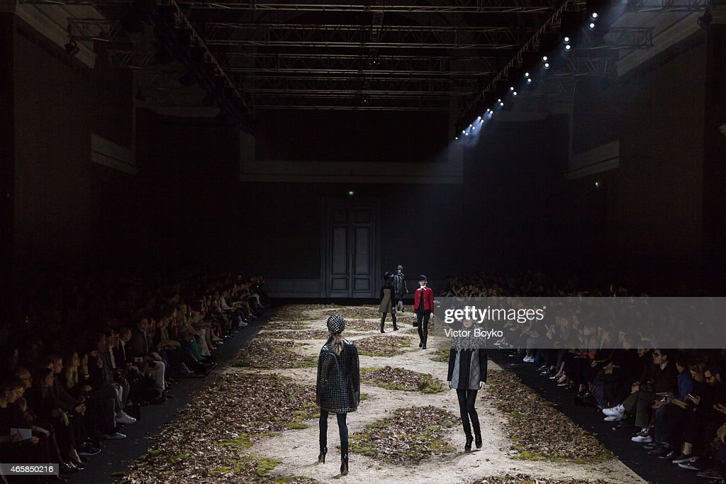 Models walk the runway during the Moncler Gamme Rouge show as part of the Paris Fashion Week Womenswear Fall/Winter 2015/2016 on March 11, 2015 in Paris, France.