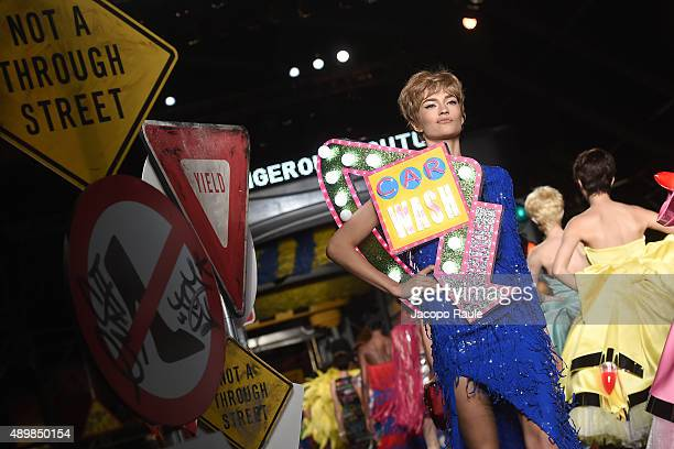 Models walk the runway during the Moschino fashion show as part of Milan Fashion Week Spring/Summer 2016 on September 24 2015 in Milan Italy