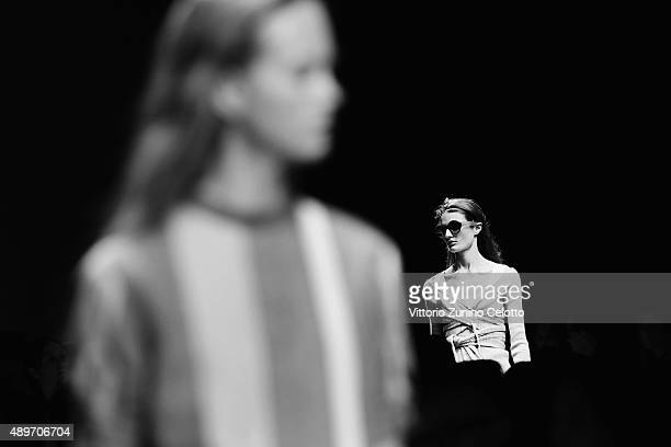Models walk the runway during the N21 fashion show as part of Milan Fashion Week Spring/Summer 2016 on September 23 2015 in Milan Italy