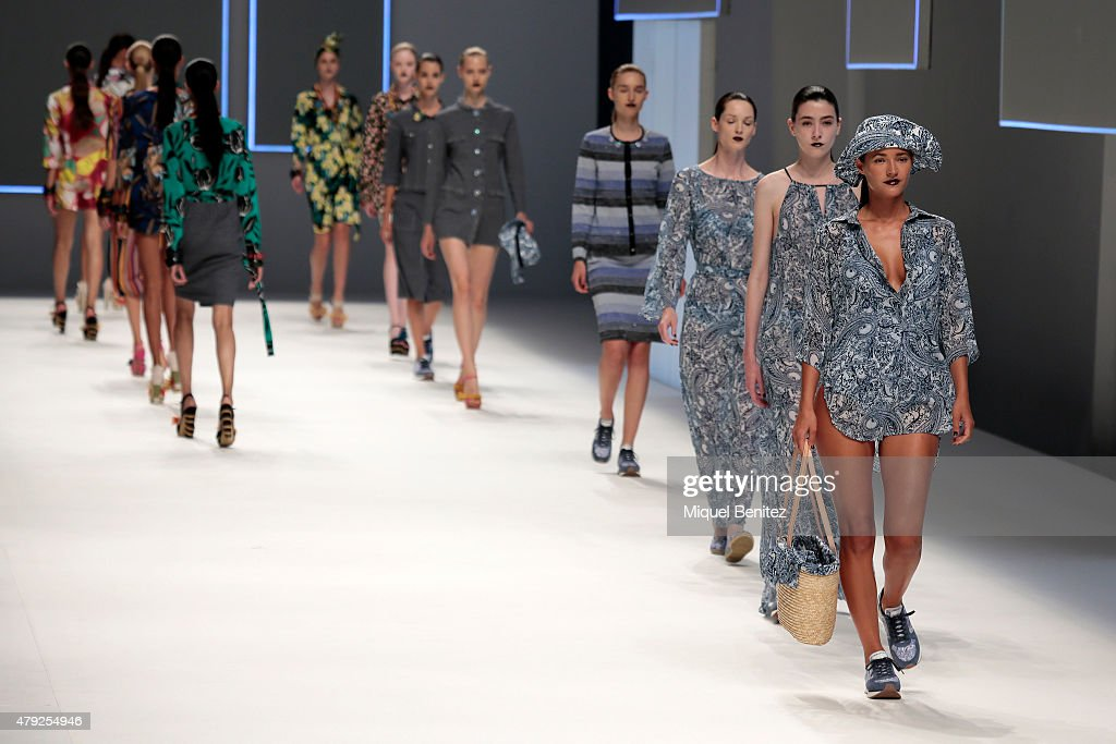 Models walk the runway during the Naulover fashion show as part of '080 Barcelona Fashion Autumn\Winter 2015-2016' at the Lluis Companys Olympic Stadium on July 2, 2015 in Barcelona, Spain.
