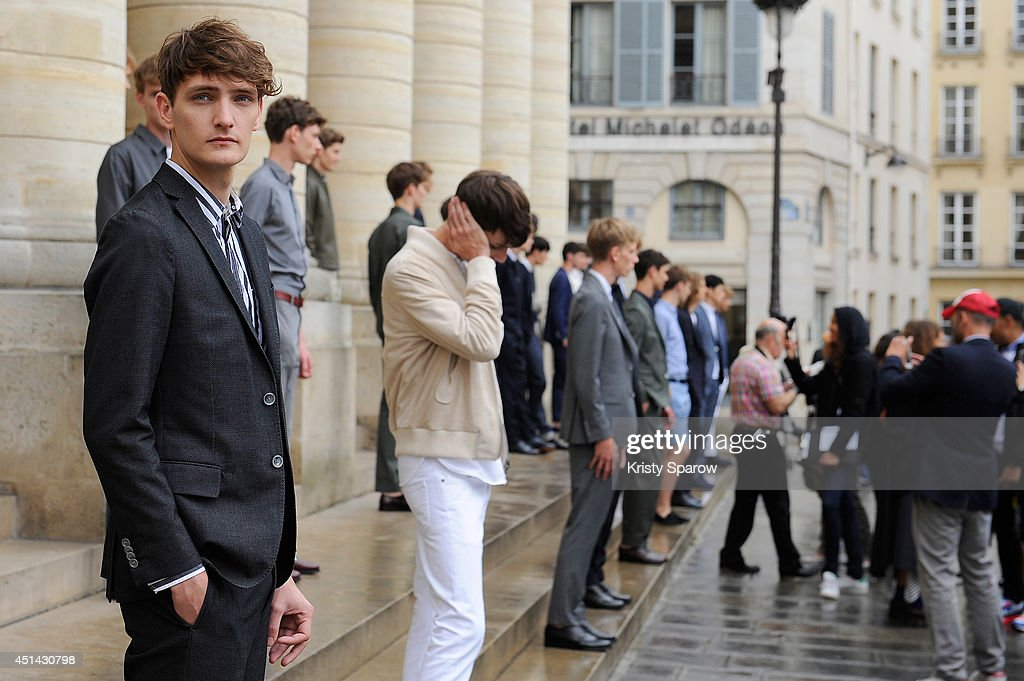 Models walk the runway during the Officine Generale show as part of Paris Fashion Week Menswear Spring/Summer 2015 on June 29, 2014 in Paris, France.